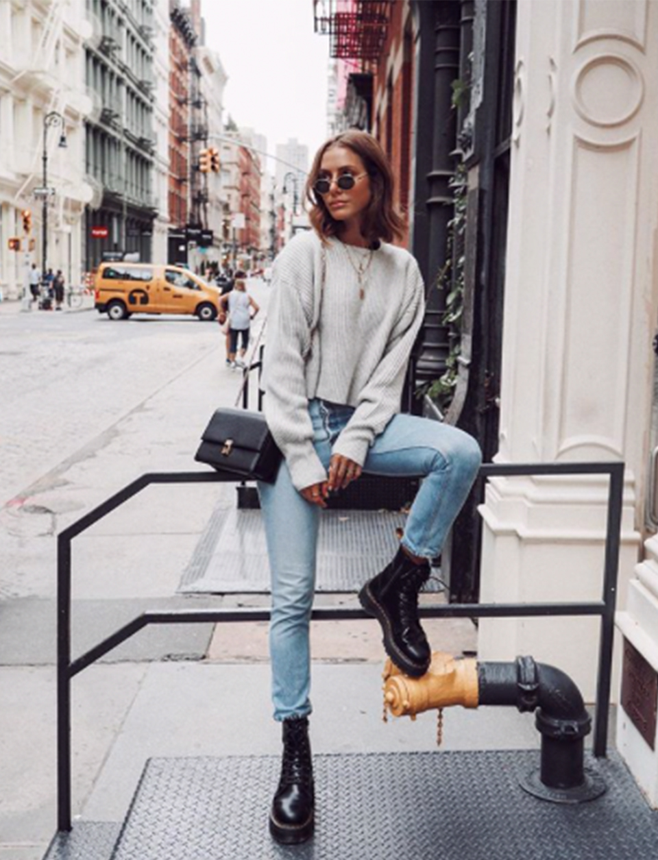 Jelena Shows Us How To Style Her Favourite Jeans With Biker Boots A Simple Knit Less Or Luxe